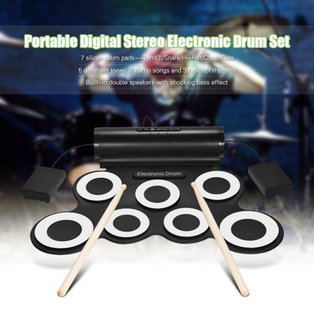 Portable USB Electronic Drum Kit Foldable Silicone Hand Roll-up Jazz Drum For Beginners and Children Practice with Foot