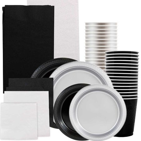 Graduation Plates And Napkins (JAM Paper® Party Supply Assortment, Black & Silver Grad Pack, Plates (2 Sizes), Napkins (2 Sizes) , Cups & Tablecloths,)
