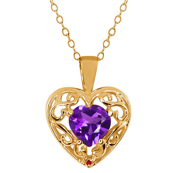 0.75 Ct Heart Shape Purple Amethyst Red Garnet Gold Plated Silver Pendant