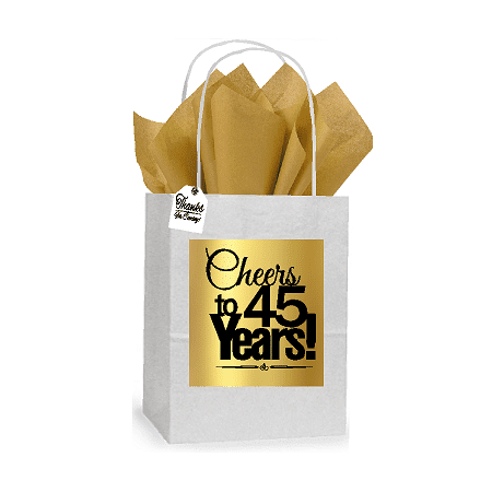 45th Cheers Birthday / Anniversary White and Gold Themed Small Party Favor Gift Bags Stickers Tags -12pack - Good Party Themes