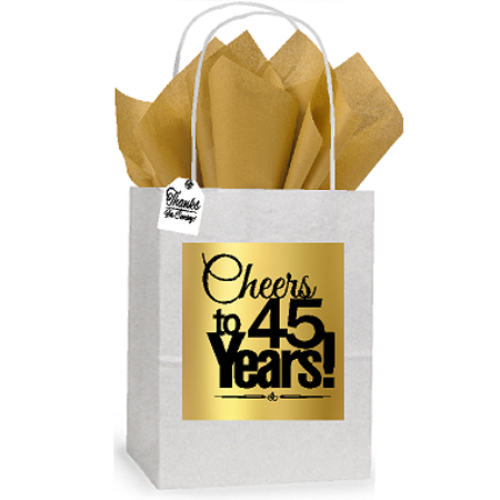 45th Cheers Birthday / Anniversary White and Gold Themed Small Party Favor Gift Bags Stickers Tags -12pack