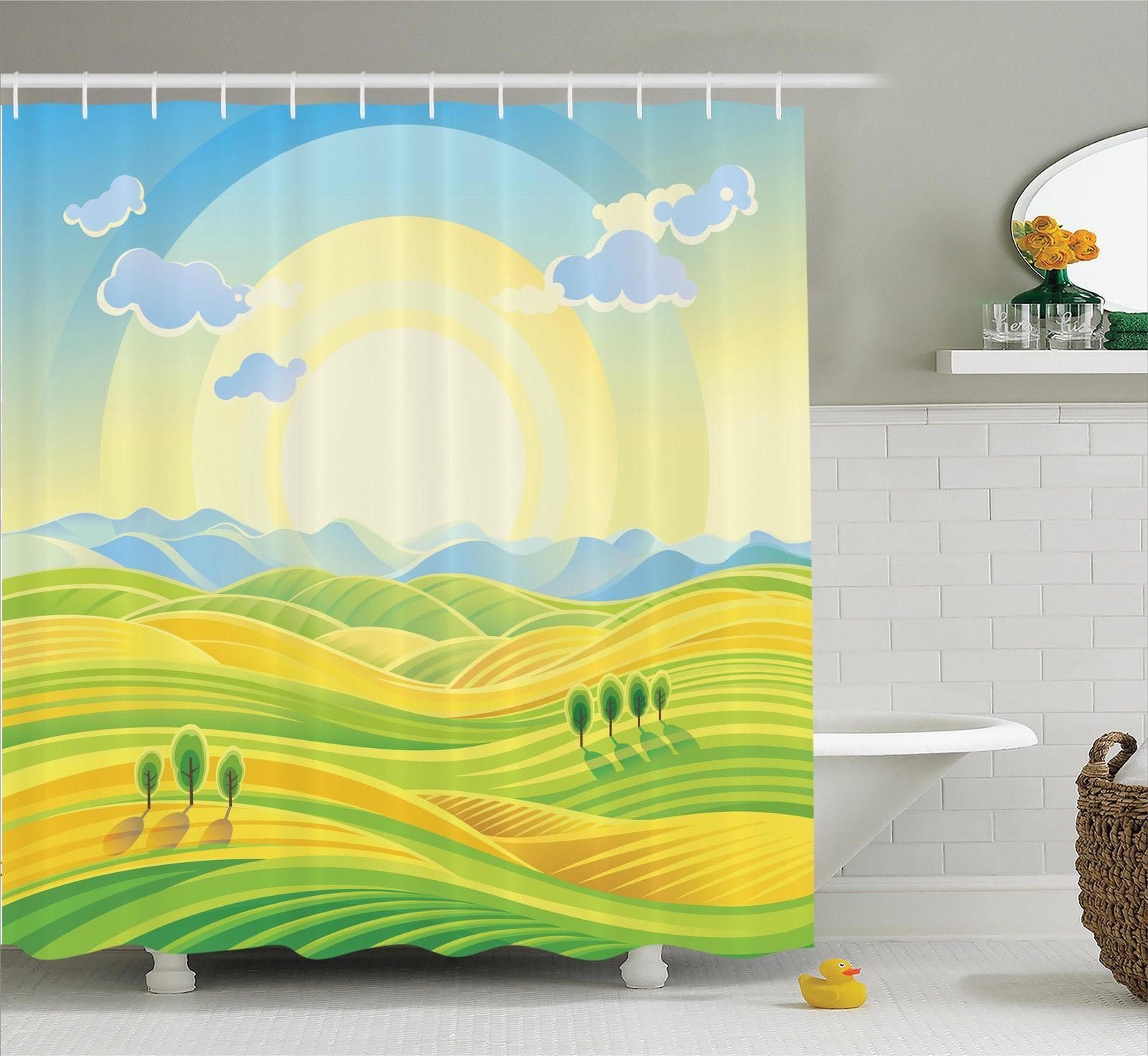Farm House Decor Shower Curtain Set, Sunny Rural Landscape With Rolling Hills Fields In Autumn Color Cartoon Art Print, Bathroom Accessories, 69W X 70L Inches, By Ambesonne