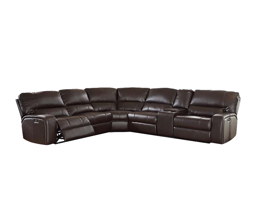 Acme Furniture Saul Power Reclining Sectional Sofa with USB Dock, Espresso Leather-Aire by Acme Furniture