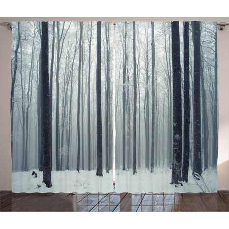 Winter Curtains 2 Panels Set, Foggy Mysterious Woodland Beech Trees Forest Peaceful Solitude Morning Scenery, Window Drapes for Living Room Bedroom, 108W X 84L Inches, Black White, by (Beech Effect)