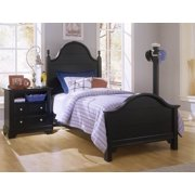 Double Slotted Panel Bed w Nightstand in Black Finish (Twin)