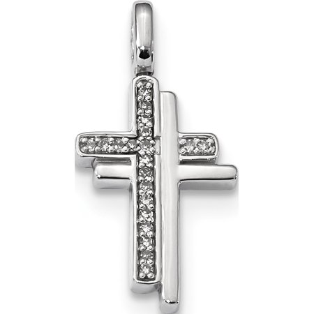 925 Sterling Silver Rhodium 0.2ct. Blk & Wht Dia.Reversible Cross (13x25mm) Pendant / Charm - image 1 of 2