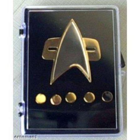 (Voyager Star Trek Communicator Badge + Rank Pin Set 6 Piece Metal)