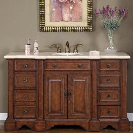 Bathroom Vanity Cabinet Marble - Silkroad Exclusive  58-inch Marble Stone Top Bathroom Vanity Lavatory Single Sink Cabinet