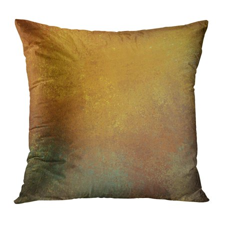ECCOT Brown Golden Orange Graffiti Vintage and Bright Gold Highlight on Gray Stone Copyspace Title Yellow Page Pillow Case Pillow Cover 16x16 inch