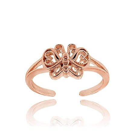 Rose Gold Tone over Sterling Silver Butterfly Toe Ring (Crystal Butterfly Toe Ring)