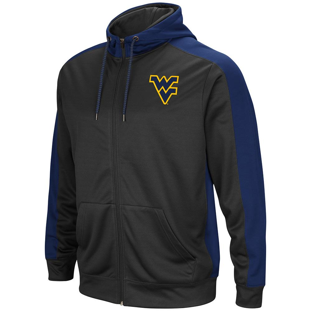 Mens NCAA West Virginia Mountaineers Full-zip Hoodie (Charcoal) by Colosseum