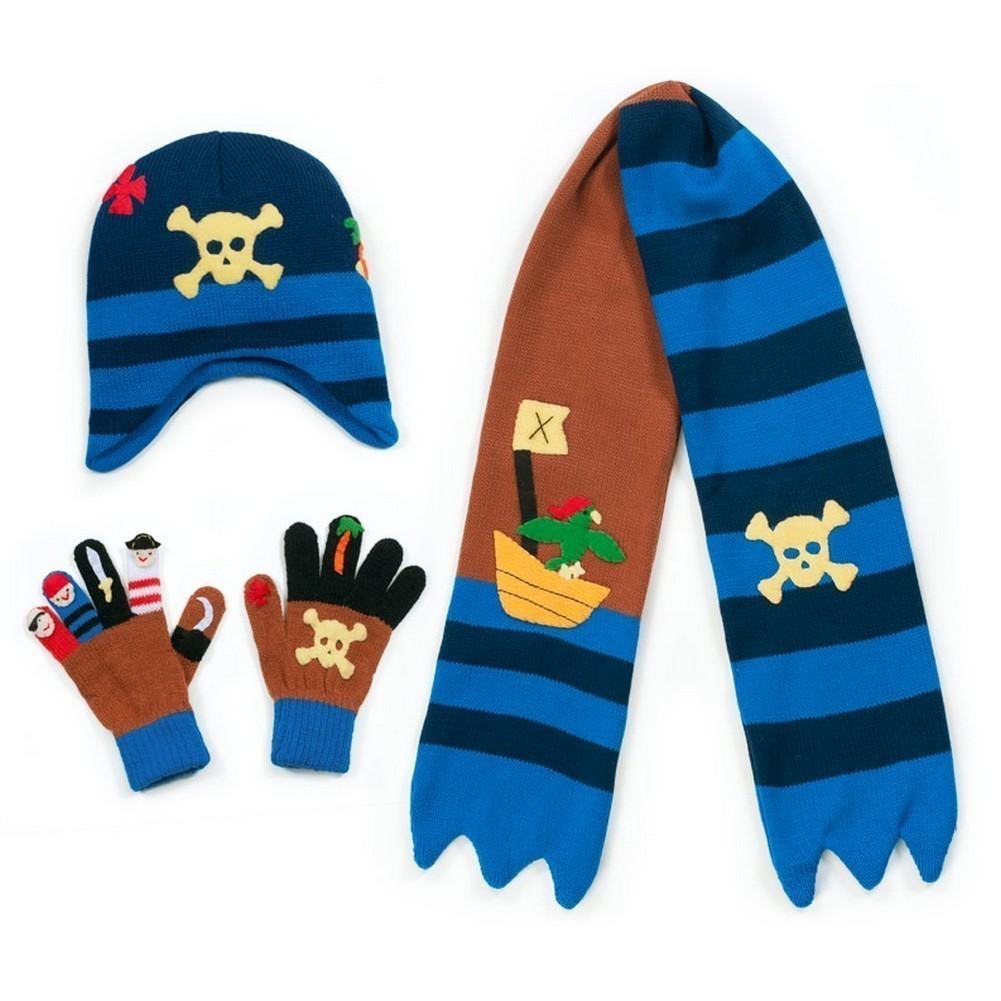 Boys Blue Pirate Hat Scarf Gloves Handmade Winter Set by Kidorable