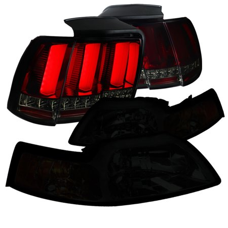 Spec-D Tuning 1999-2004 Ford Mustang Smoke Headlights + Red Smoke Sequential Led Tail Brake Lamps 99 00 01 02 03 04