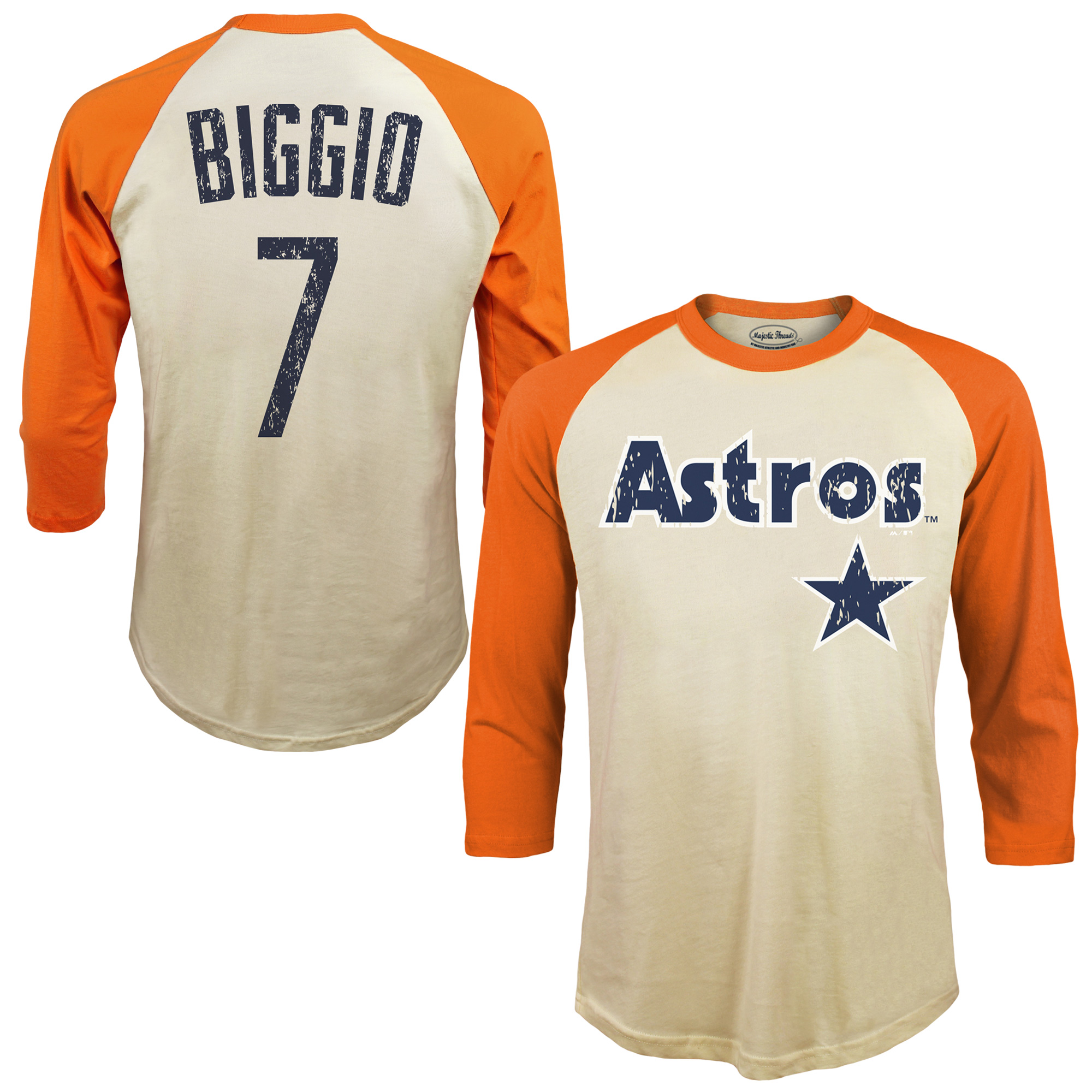 Craig Biggio Houston Astros Majestic Threads Softhand Cotton Cooperstown 3/4-Sleeve Raglan T-Shirt - Cream