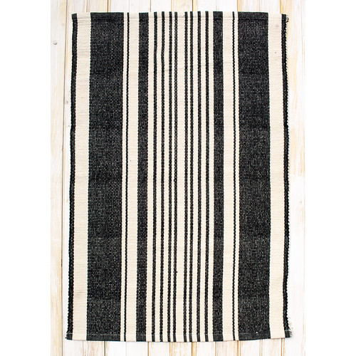 CLM Boothbay Black/Natural Stripe Area Rug