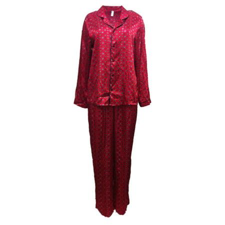 George Womens Red Floral Satin Button Up Pajamas Silky Pajama Sleep Set - Sissy Pajamas