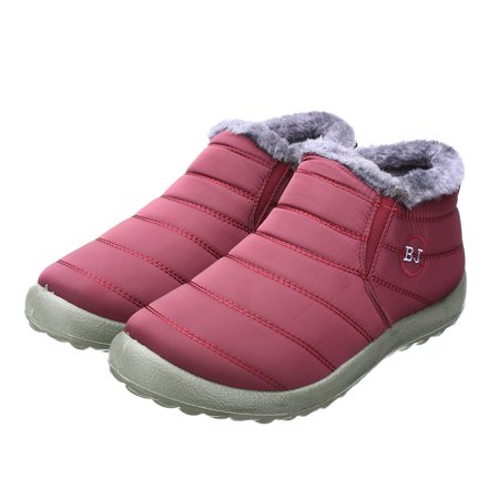 Meigar New Women's Winter Warm Casual Shoes Fabric Fur-lined Slip On Ankle Snow Boots Sneakers Shoes