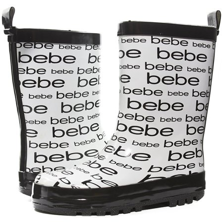 bebe Girls Printed High Cut Puddle Proof Slip On Rain Boots, White, Size 2/3 - Boots Iwhite