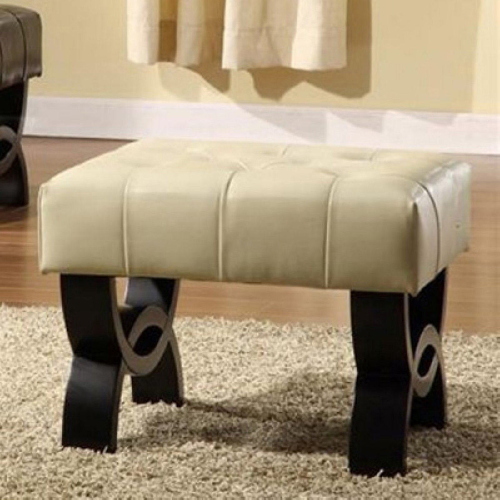 """Central Park 24"""" Tufted Leather Ottoman, Multiple Colors"""