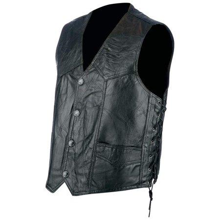 Rocky Ranch Hides Rock Leather Biker Vest-2X