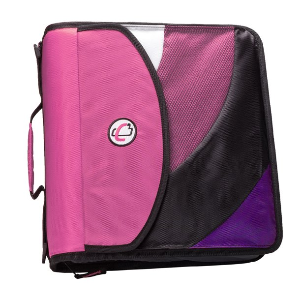 Case It Dual Ring Zipper Backpack Binder, Pink, 4 Inch