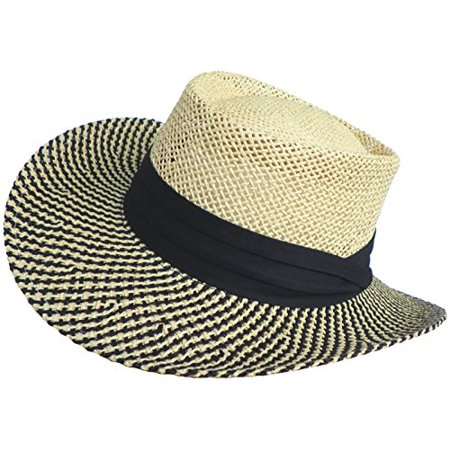 Paper Straw Gambler Wide Brim 2 Tone Golf Hat - Walmart.com cef684f596a
