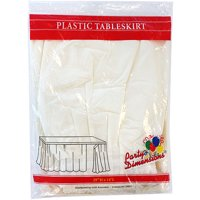 """Ivory 29""""H X 14'L Plastic Disposable Party Table Skirt"""