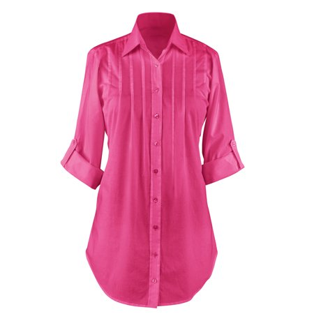 Women's Button Down, Collared, Roll Sleeve Tunic Top, Large, Fuchsia Cashmere Cotton Tunic