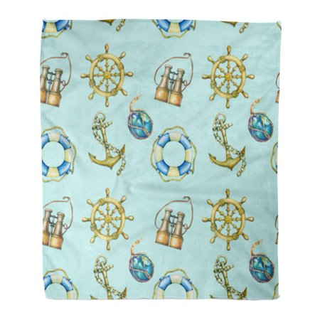SIDONKU Throw Blanket 58x80 Inches Nautical Pastel Turquoise Old Binocular Lifebuoy Antique Sailboat Steering Warm Flannel Soft Blanket for Couch Sofa Bed](Nautical Throw)