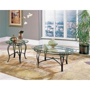 Madrid Beveled Glass Top Occasional Table 2 Pc Set