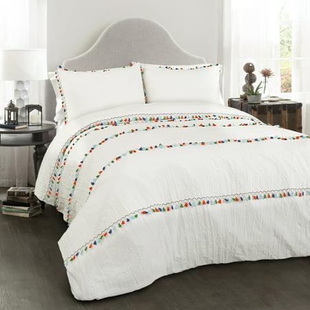 Boho Tassel 3 Piece White Comforter Set Walmart Com