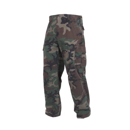 (Vietnam Era Camouflage Army Pants, Fatigues, Woodland Camo)