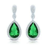 Collette Z  Sterling Silver Green Cubic Zirconia Pear Drop Earrings