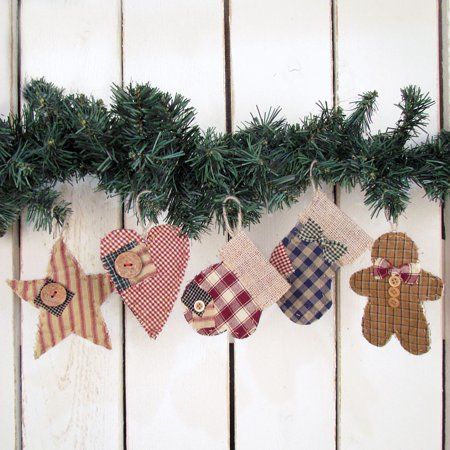 Quilted Homespun Fabric Christmas Ornaments Set of 5Jubilee Creative Studio ()