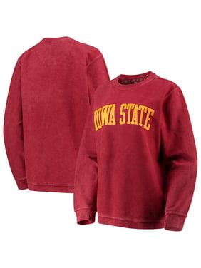 Iowa State Cyclones Pressbox Women's Comfy Cord Vintage Wash Basic Arch Pullover Sweatshirt - Cardinal