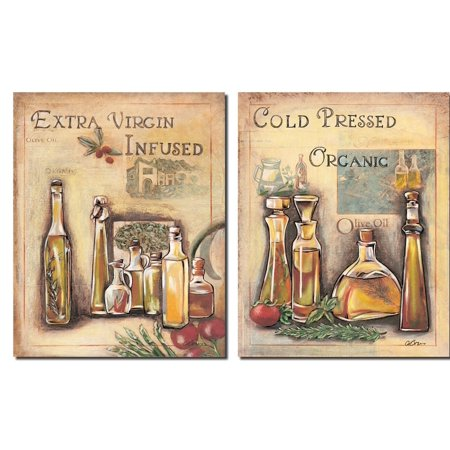 2 Vintage Italian OLive Oil Signs; Kitchen Decor; Two 8X10 Poster Prints ()