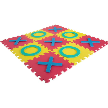 Giant Classic Tic Tac Toe Game – Oversized Interlocking Colorful EVA Foam Squares with Jumbo X and O Pieces for Indoor and Outdoor Play by Hey! - Foam Hopscotch Game