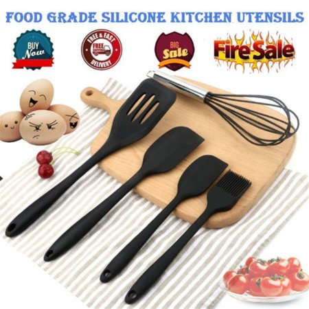New Chef Craft 5 Piece Silicone Kitchen Tool and Utensil Set Cooking Utensils Pink 5 Piece Setting