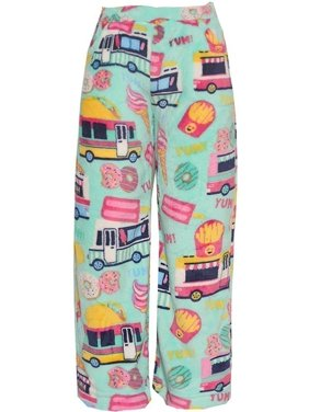 Candy Pink Little Girls Mint Multi Food Truck Mixed Print Pajama Pants
