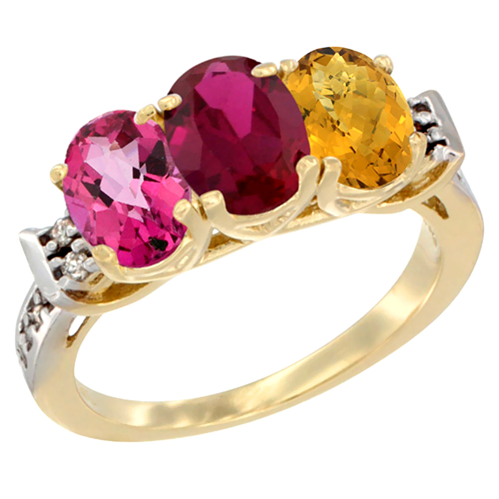 10K Yellow Gold Natural Pink Topaz, Enhanced Ruby & Natural Whisky Quartz Ring 3-Stone Oval 7x5 mm Diamond Accent, sizes... by WorldJewels