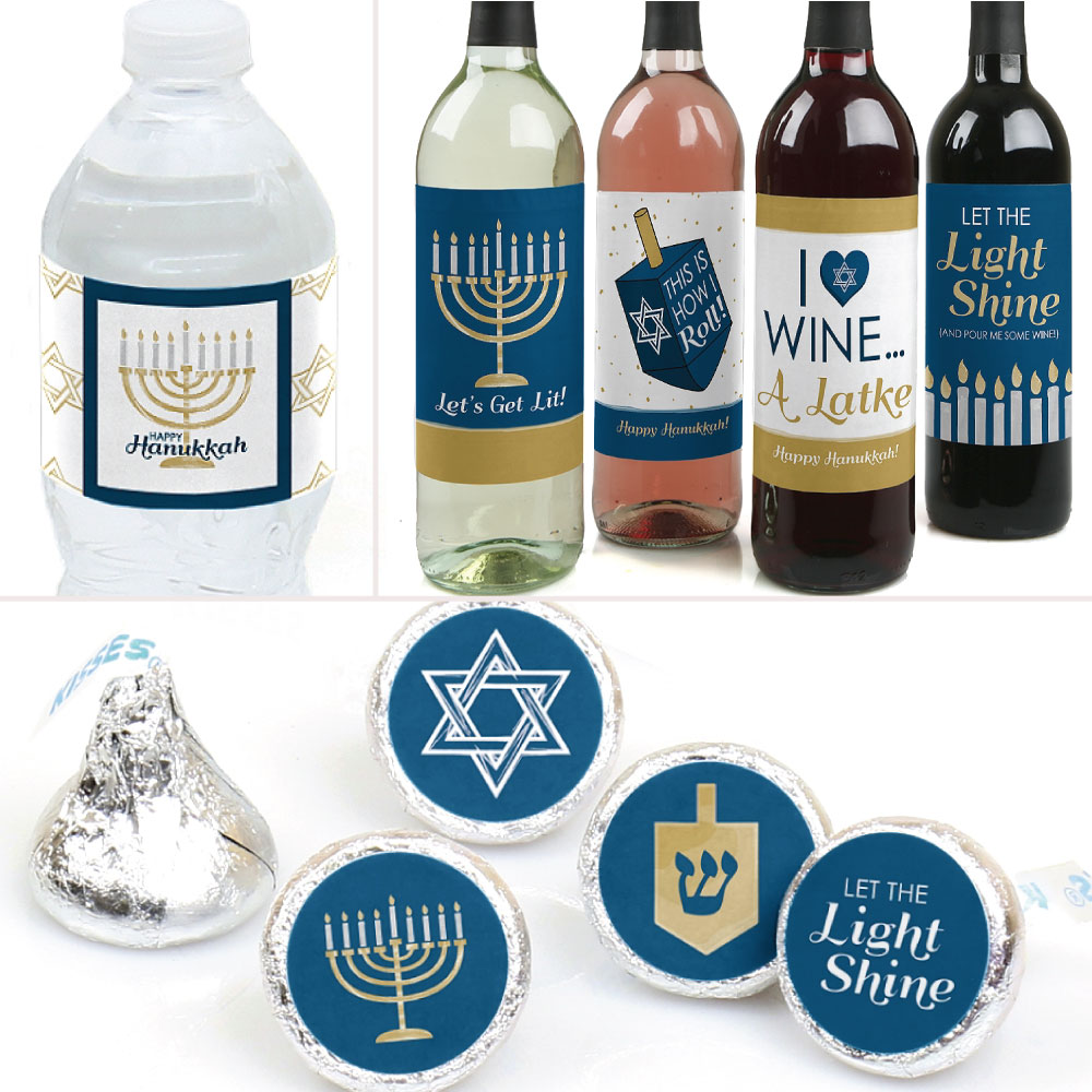 Happy Hanukkah - Chanukah Party Decorations & Favors Kit - Wine, Water and Candy Labels Trio Sticker Set