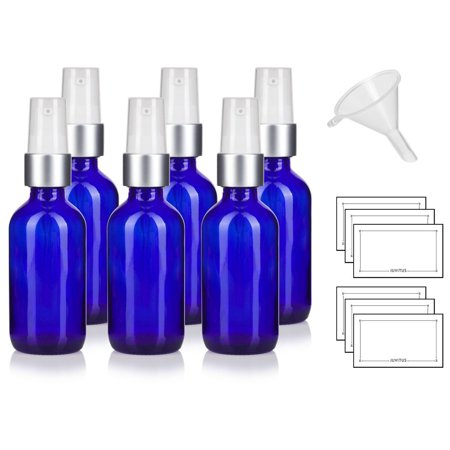 Cobalt Blue Glass Boston Round Luxury Silver and White Treatment Pump Bottle - 2 oz / 60 ml (6 Pack) + Funnel and Labels Cobalt Blue Glass Pump