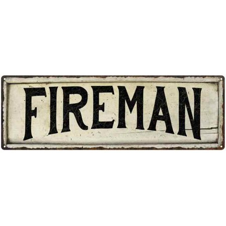 FIREMAN Farmhouse Style Wood Look Sign Gift 8x24 Metal Decor 108240028158