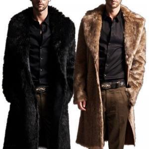 Men Warm Fashion Faux Fur Coat Parka Outerwear Long Jacket Winter Black Overcoat by Parkas