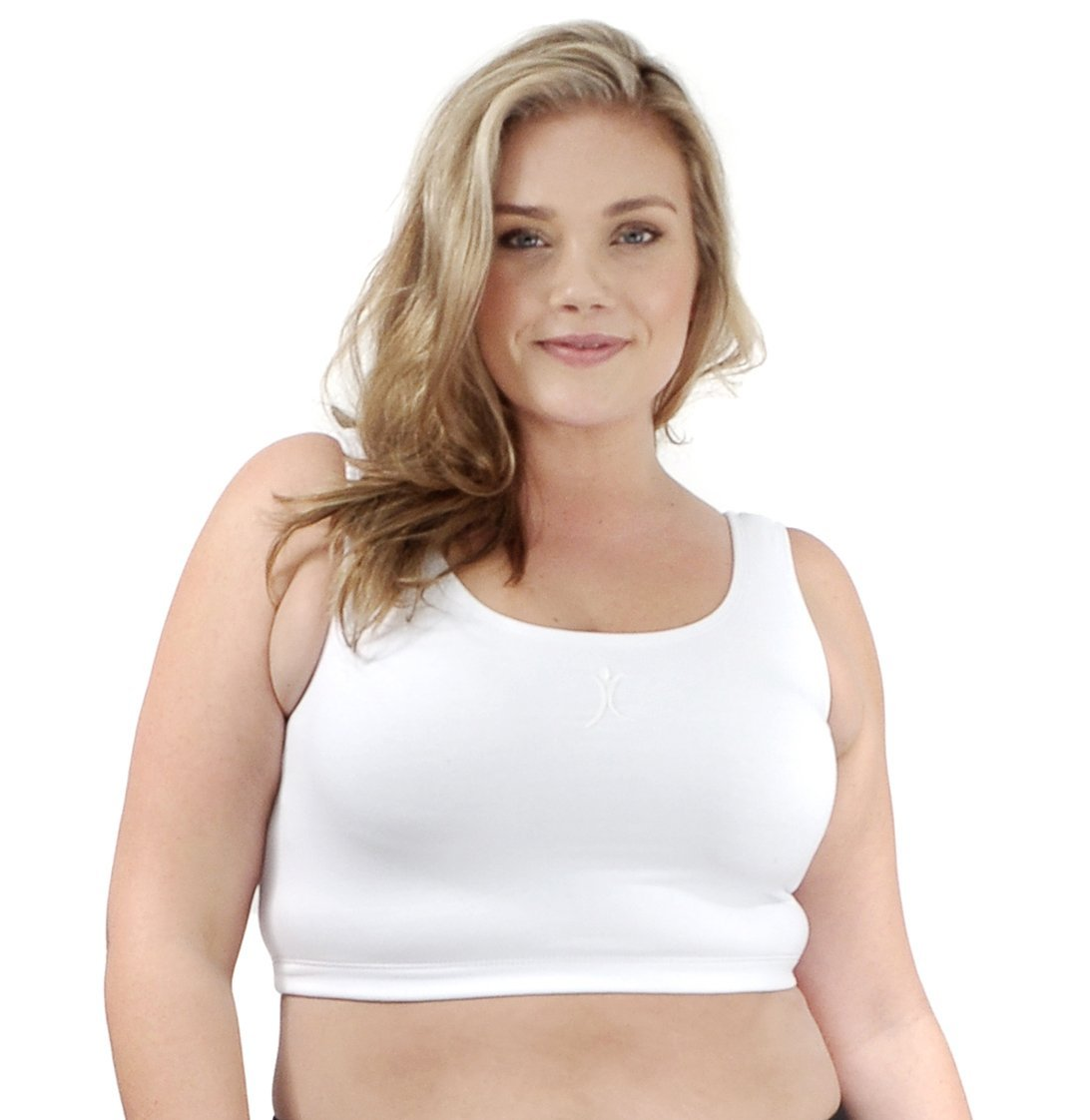A Big Attitude Women's Sports Bra White Performance Plus Size Activewear ABA