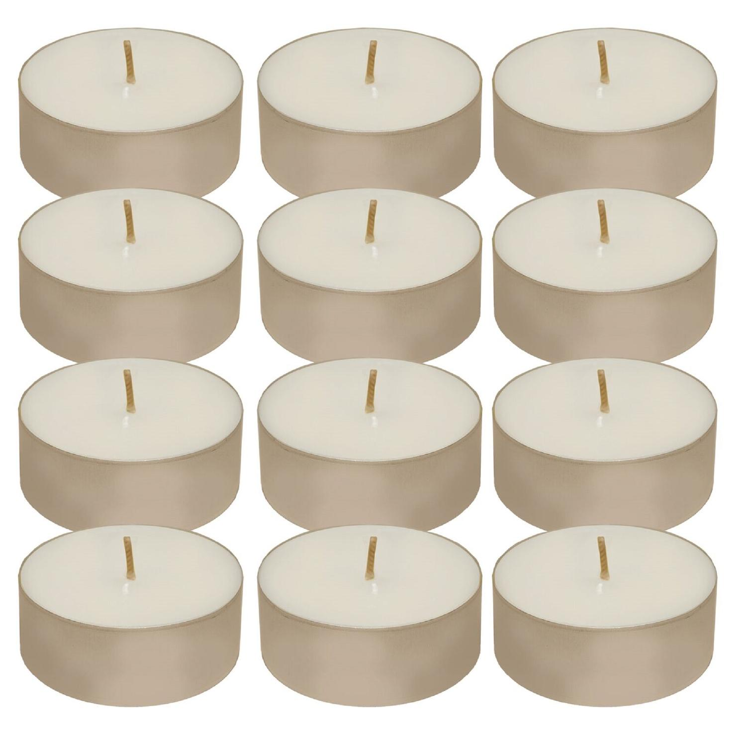 Club Pack of 12 White Wax 12hr Unscented Tea Light Candles