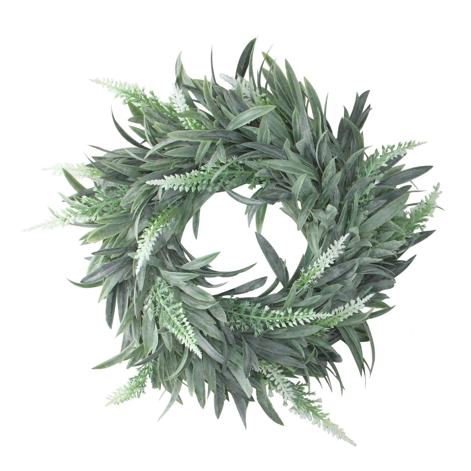 "Northlight 10"" Unlit Artificial Dusty White Christmastime Wispy Lavender Christmas Wreath"