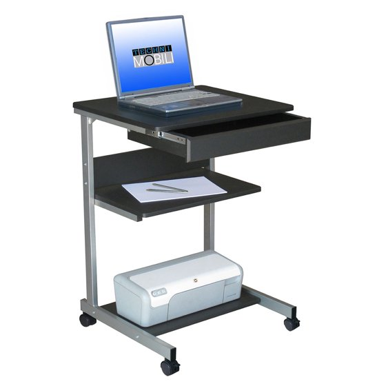 Techni Mobili Rolling Laptop Desk with Storage, Graphite - Walmart.com