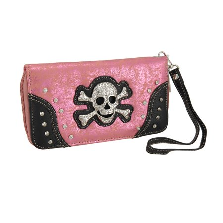 Rhinestone Skull Foil Fabric Wallet w/Removable Wrist Strap