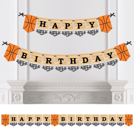 Nothin' But Net - Basketball - Birthday Party Bunting Banner - Happy Birthday